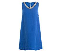 Leinenkleid mit Schmucksteinbesatz - blau