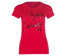 T-Shirt mit Pillettenbesatz - burgunder