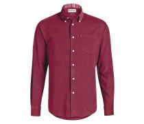 Feincord-Hemd Tailored-Fit - bordeaux