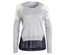 Pullover mit Spitzenbesatz - grau/ ecru
