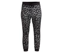 Seidenhose im Jogging-Stil - schwarz/ grau