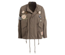 Parka mit Patches - oliv
