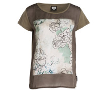 T-Shirt - oliv meliert/ creme