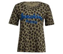T-Shirt aus Leinen mit Paillettenbesatz