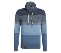 Pullover mit Schalkragen - blau
