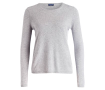 Cashmere/Seide-Pullover - grau meliert