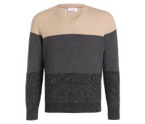 Cashmere-Pullover - beige/ grau