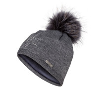 Mütze mit Pelzbommel - grau