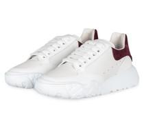 Plateau-Sneaker - WEISS/ DUNKELLILA