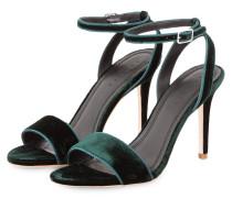 Samt-Sandaletten - dunkelgrün