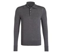 Feinstrick-Poloshirt - dunkelgrau meliert