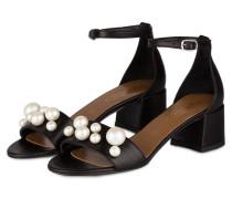 Sandalen mit Perlenbesatz - schwarz