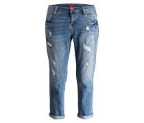 Mom-Jeans - blue denim stretch