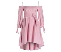 Off-Shoulder Kleid - rosa/ weiss gestreift
