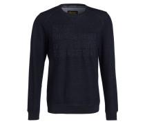 Sweatshirt mit monochromer Prägung - blau