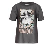 T-Shirt im Materialmix mit Schmucksteinbesatz