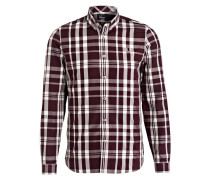 Hemd Slim-Fit - bordeaux/ ecru kariert