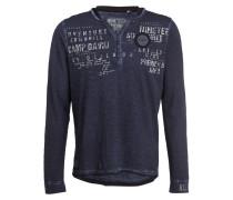 Henley-Shirt - marine meliert