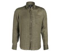 Leinenhemd Modern-Fit - grün