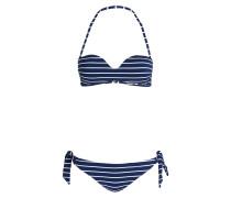 Bandeau-Bikini - navy/ weiss gestreift