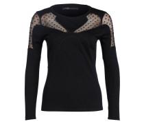 Pullover im Materialmix - schwarz
