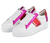 Plateau-Sneaker BIG - weiss/ pink / rot