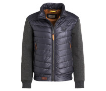 Jacke im Materialmix - navy/ grau