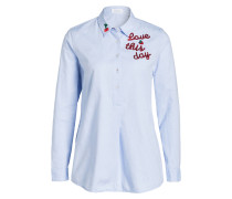 Bluse TIANA mit Patches - hellblau