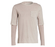 Langarmshirt in Destroyed-Optik - beige
