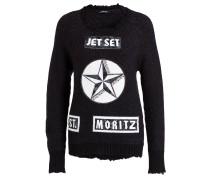 Pullover mit Badges - schwarz
