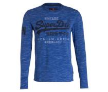 Langarmshirt - blau meliert