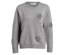 Pullover mit Strasssteinbesatz - grau