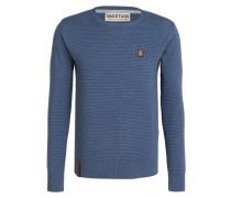 Pullover in Strukturstrick - blau