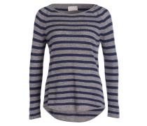 Cashmere-Pullover - grau/ navy gestreift