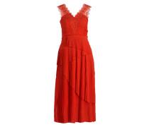 Kleid mit Spitzenbesatz - orange