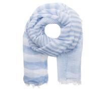 Schal mit Leinenanteil - blau/ weiss