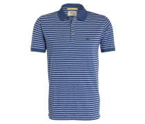 Jersey-Poloshirt - blau/ weiss gestreift