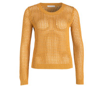 Häkelstrick-Pullover - ocker