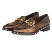 Loafer mit Nietenbesatz - gold
