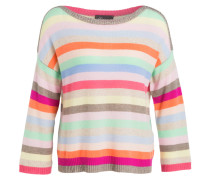 Cashmere-Pullover - rosa/ grün/ blau