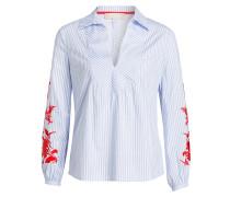 Bluse mit Stickereien - blau