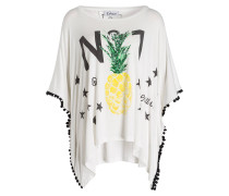 T-Shirt mit Paillettenbesatz - weiss