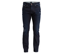 Destroyed-Jeans Straight-Fit - navy washed
