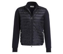 Sweatjacke im Materialmix - navy