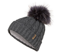 Mütze mit Pelzbommel - dunkelgrau