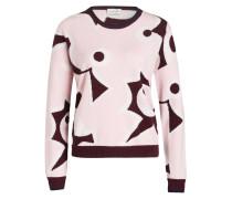 Cashmere-Pullover - rosa/ dunkelrot/ weiss