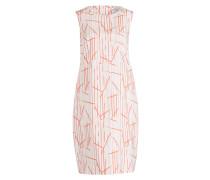Kleid - offwhite/ orangerot
