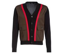 Cardigan - schwarz/ khaki/ rot