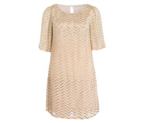 Kleid mit Paillettenbesatz - gold