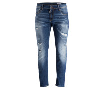 Destroyed-Jeans KEITH Skinny-Fit - blau